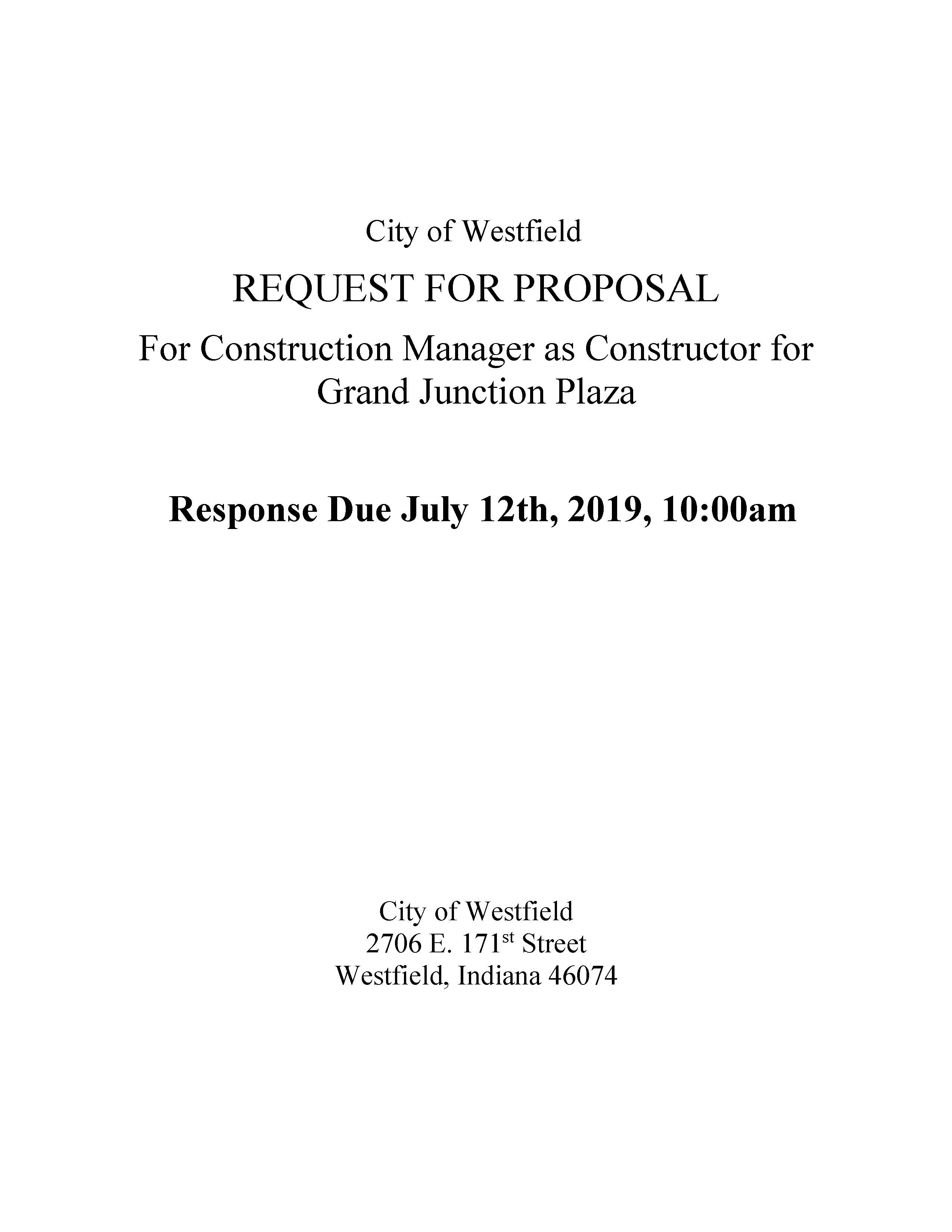 Photo for: City of Westfield Releases a Request for Proposals for Construction Management of the Grand Junction Plaza Park Project